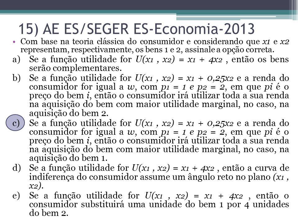 Com base na teoria clássica do consumidor e considerando que x1 e x2 representam, respectivamente, os bens 1 e 2, assinale a opção correta. a)Se a fun