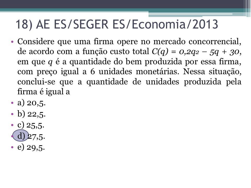 18) AE ES/SEGER ES/Economia/2013 Considere que uma firma opere no mercado concorrencial, de acordo com a função custo total C(q) = 0,2q 2 – 5q + 30, e