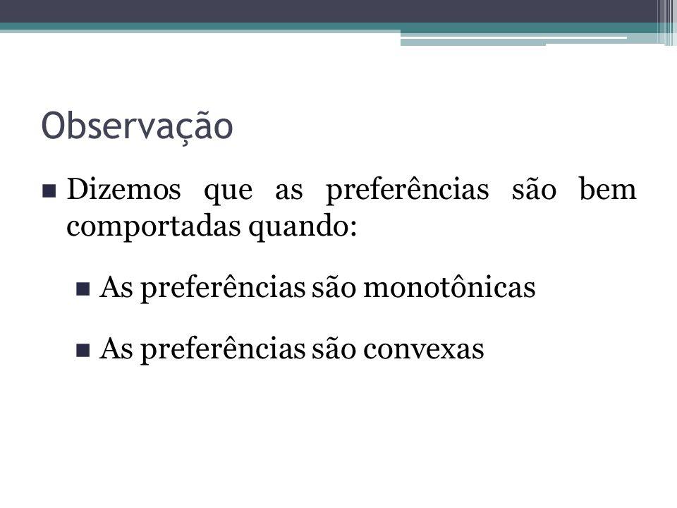 Observação Dizemos que as preferências são bem comportadas quando: As preferências são monotônicas As preferências são convexas