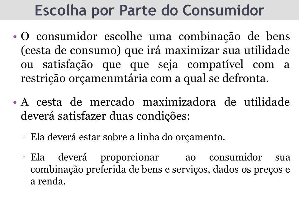 Escolha por Parte do Consumidor O consumidor escolhe uma combinação de bens (cesta de consumo) que irá maximizar sua utilidade ou satisfação que que s