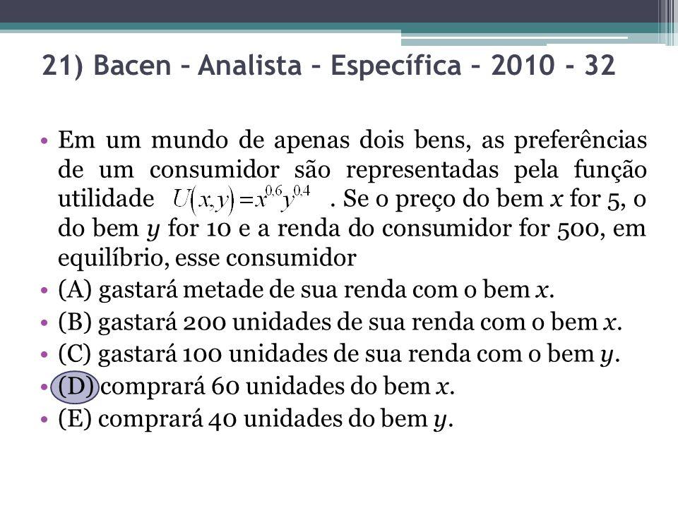 21) Bacen – Analista – Específica – 2010 - 32 Em um mundo de apenas dois bens, as preferências de um consumidor são representadas pela função utilidad