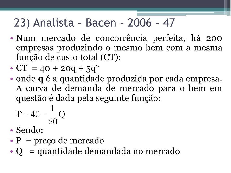23) Analista – Bacen – 2006 – 47 Num mercado de concorrência perfeita, há 200 empresas produzindo o mesmo bem com a mesma função de custo total (CT):