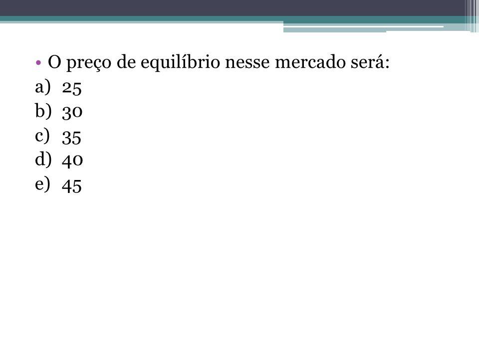 O preço de equilíbrio nesse mercado será: a)25 b)30 c)35 d)40 e)45