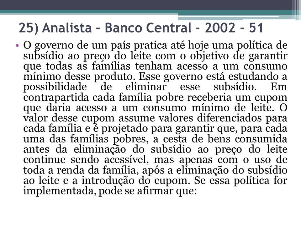 25) Analista - Banco Central - 2002 - 51 O governo de um país pratica até hoje uma política de subsídio ao preço do leite com o objetivo de garantir q