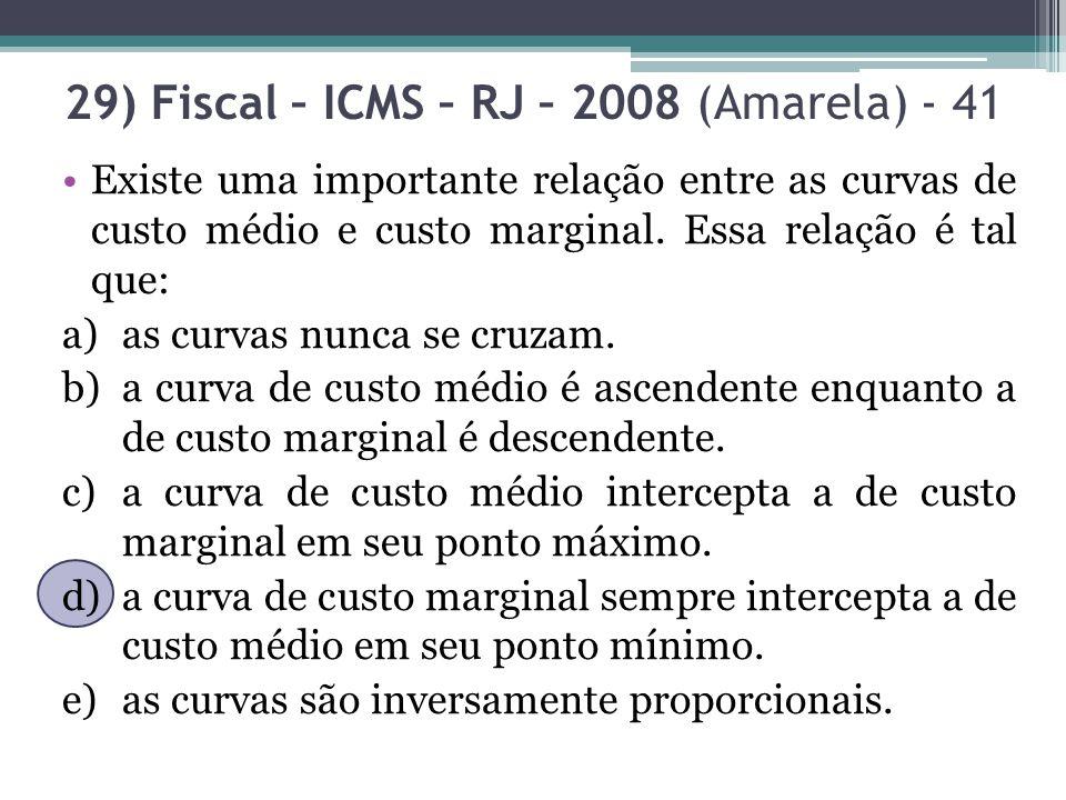 29) Fiscal – ICMS – RJ – 2008 (Amarela) - 41 Existe uma importante relação entre as curvas de custo médio e custo marginal. Essa relação é tal que: a)