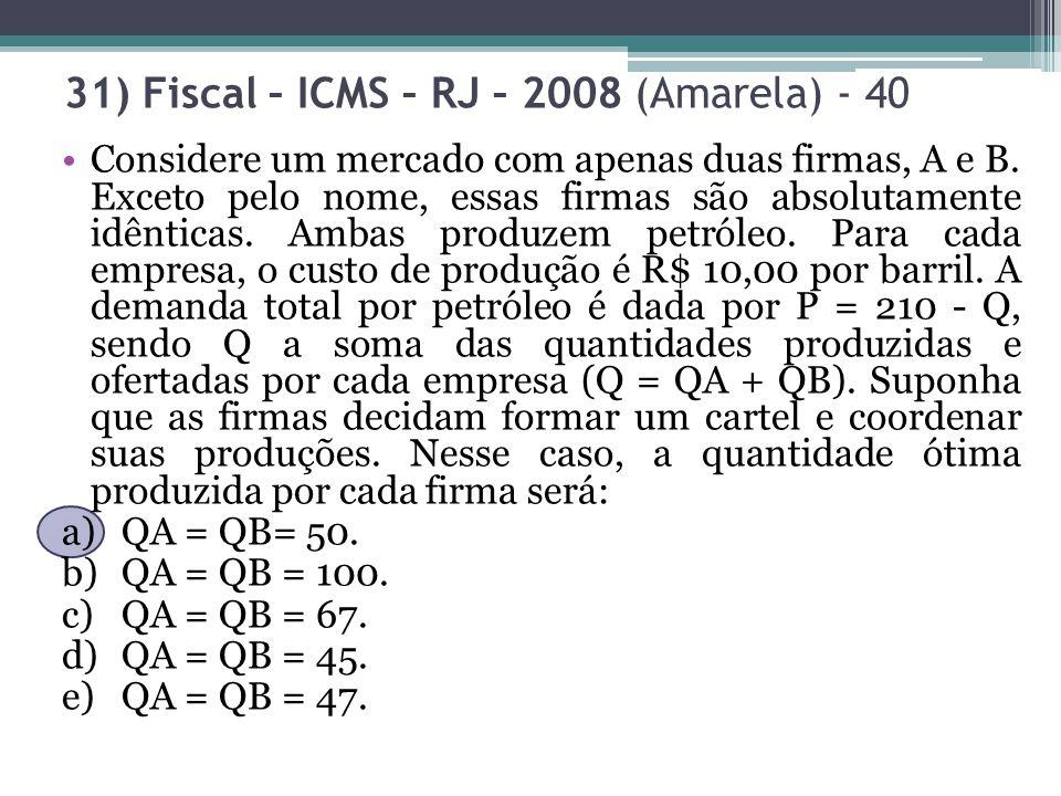 31) Fiscal – ICMS – RJ – 2008 (Amarela) - 40 Considere um mercado com apenas duas firmas, A e B. Exceto pelo nome, essas firmas são absolutamente idên