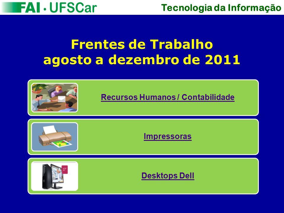 Tecnologia da Informação Frentes de Trabalho agosto a dezembro de 2011 Recursos Humanos / Contabilidade Impressoras Desktops Dell