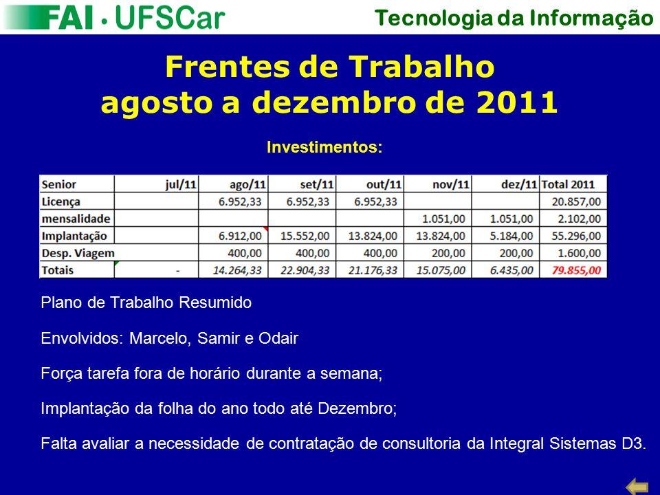 Tecnologia da Informação Frentes de Trabalho agosto a dezembro de 2011 Investimentos: Plano de Trabalho Resumido Envolvidos: Marcelo, Samir e Odair Fo