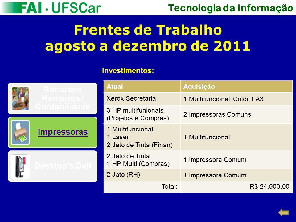Tecnologia da Informação Frentes de Trabalho agosto a dezembro de 2011 Recursos Humanos / Contabilidade Impressoras Desktop's Dell Investimentos: Atua