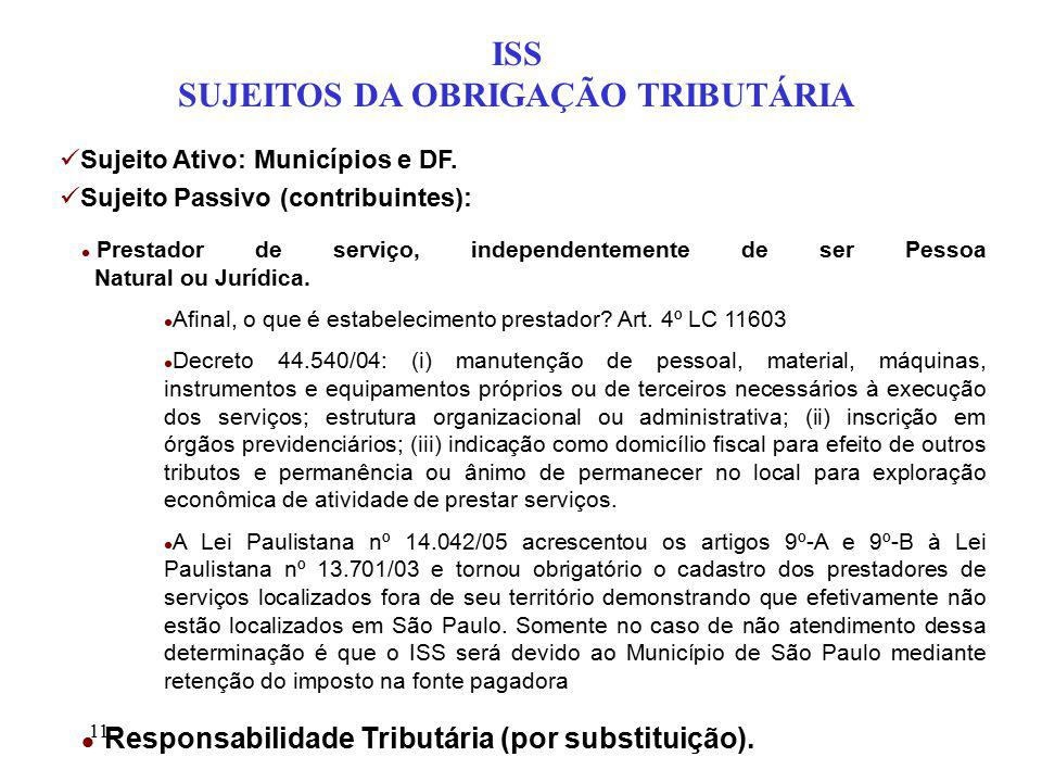 11 ISS SUJEITOS DA OBRIGAÇÃO TRIBUTÁRIA Sujeito Ativo: Municípios e DF. Sujeito Passivo (contribuintes): l Prestador de serviço, independentemente de
