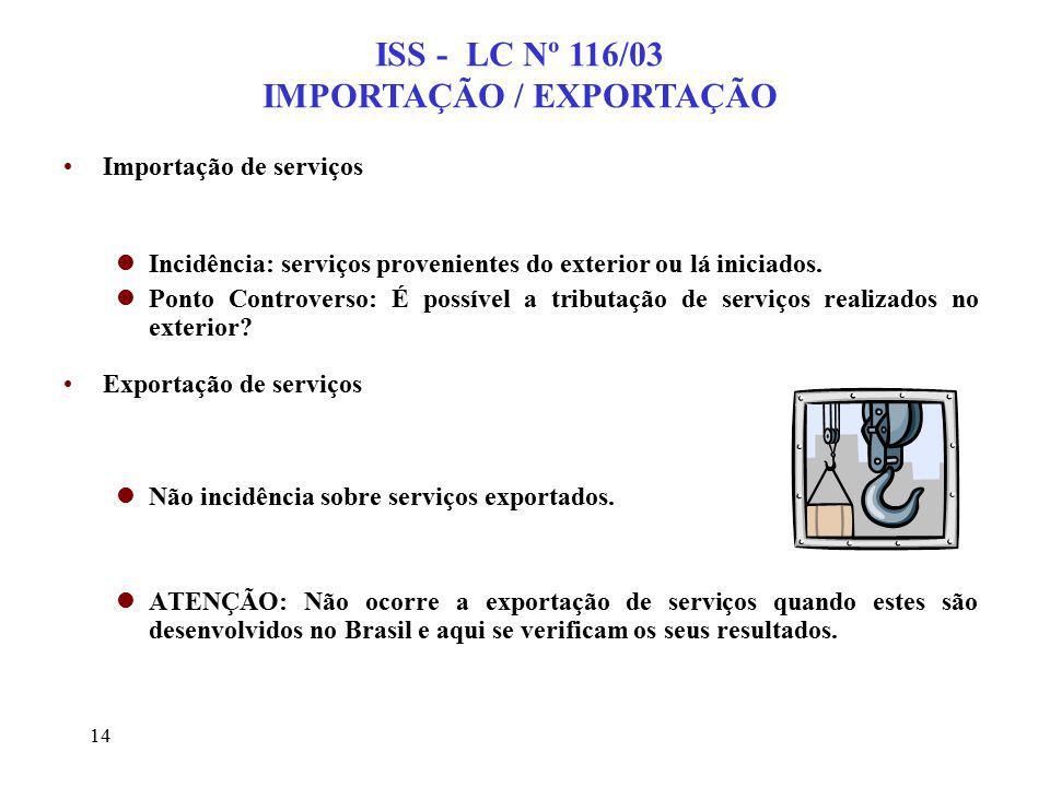 14 ISS - LC Nº 116/03 IMPORTAÇÃO / EXPORTAÇÃO Importação de serviços lIncidência: serviços provenientes do exterior ou lá iniciados. lPonto Controvers
