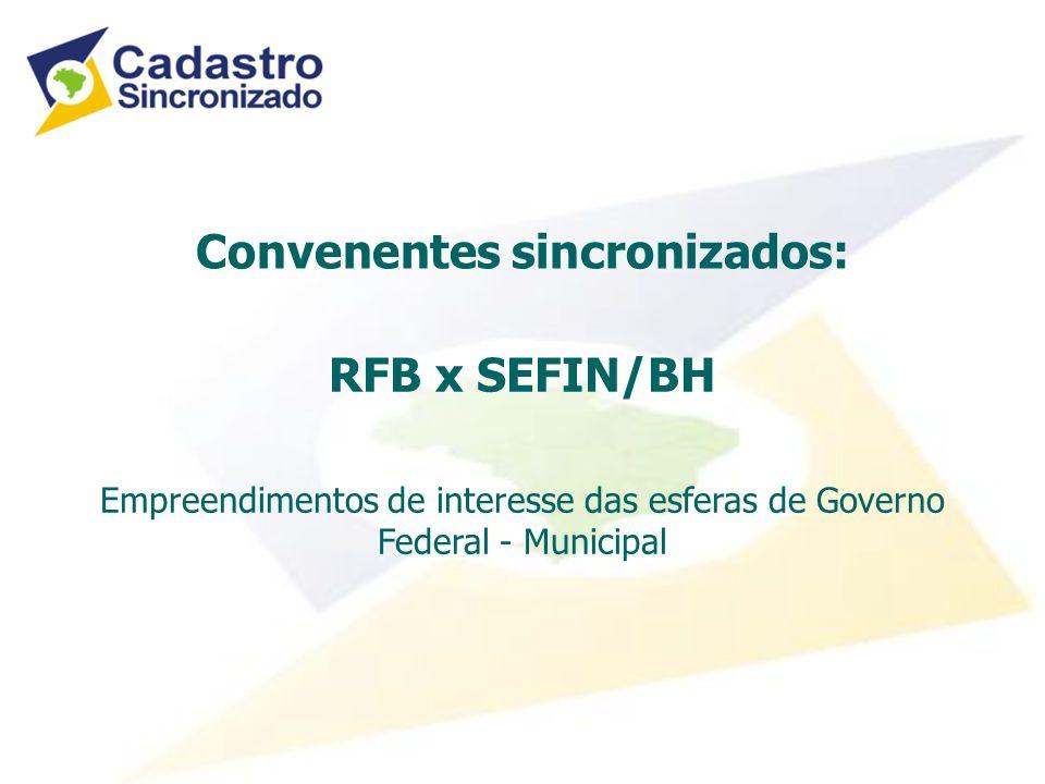 Convenentes sincronizados: RFB x SEFIN/BH Empreendimentos de interesse das esferas de Governo Federal - Municipal