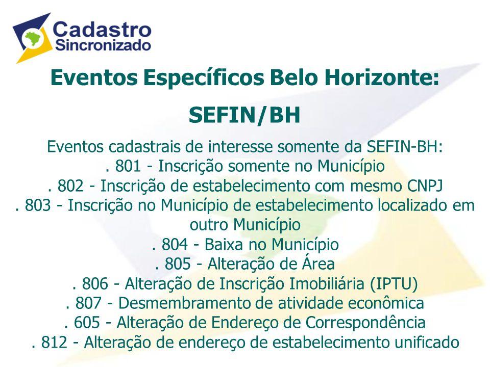 Eventos Específicos Belo Horizonte: SEFIN/BH Eventos cadastrais de interesse somente da SEFIN-BH:.
