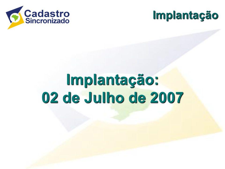 Implantação: 02 de Julho de 2007 Implantação