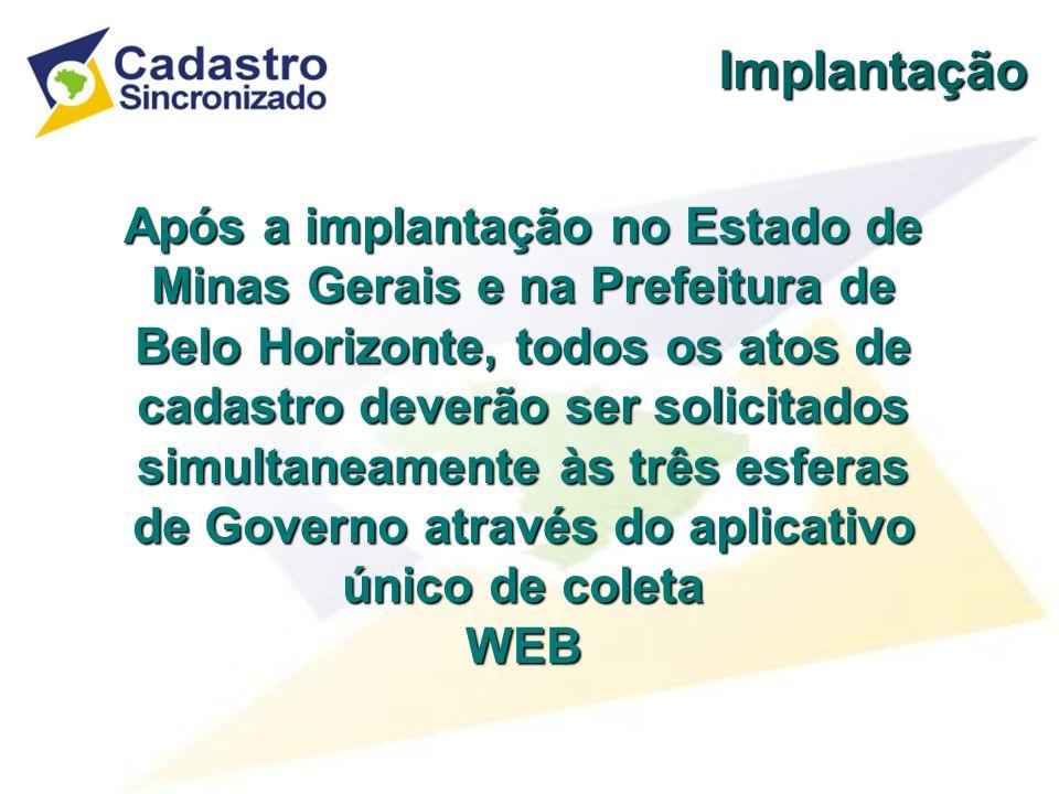 Implantação Os aplicativos de coleta podem ser obtidos nos sites dos convenentes: RFB RFB – www.receita.fazenda.gov.br SEF/MG SEF/MG – www.fazenda.mg.gov.br SMF/PBH SMF/PBH – www.fazenda.pbh.gov.br