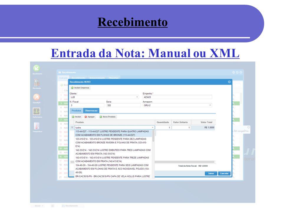 Entrada da Nota: Manual ou XML Recebimento