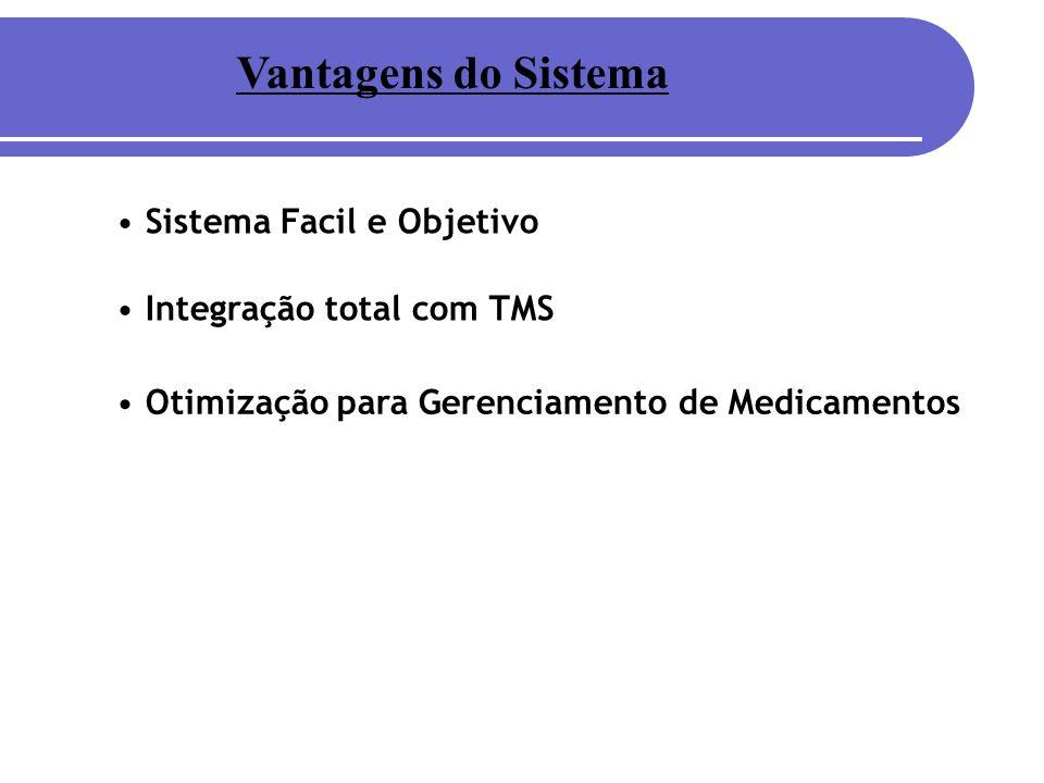 Vantagens do Sistema Otimização para Gerenciamento de Medicamentos Sistema Facil e Objetivo Integração total com TMS