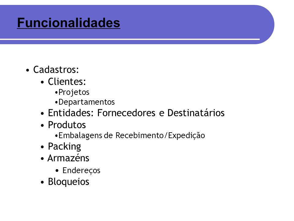 Cadastros: Clientes: Projetos Departamentos Entidades: Fornecedores e Destinatários Produtos Embalagens de Recebimento/Expedição Packing Armazéns Ende