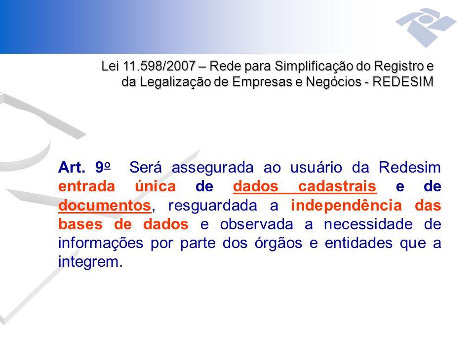 Art. 9 o Será assegurada ao usuário da Redesim entrada única de dados cadastrais e de documentos, resguardada a independência das bases de dados e obs