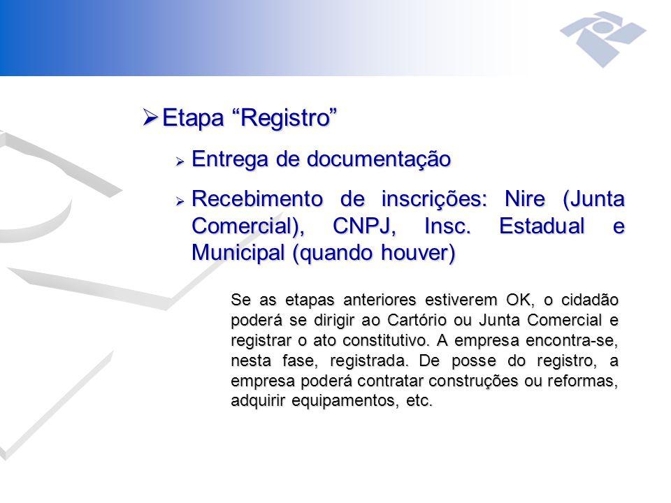  Etapa Registro  Entrega de documentação  Recebimento de inscrições: Nire (Junta Comercial), CNPJ, Insc.