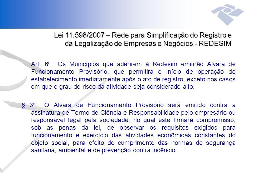 Art. 6 o Os Municípios que aderirem à Redesim emitirão Alvará de Funcionamento Provisório, que permitirá o início de operação do estabelecimento imedi
