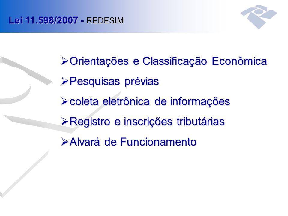  Orientações e Classificação Econômica  Pesquisas prévias  coleta eletrônica de informações  Registro e inscrições tributárias  Alvará de Funcionamento Lei 11.598/2007 - REDESIM