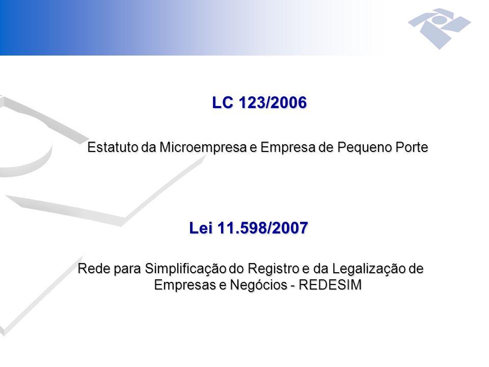 LC 123/2006 Estatuto da Microempresa e Empresa de Pequeno Porte Lei 11.598/2007 Rede para Simplificação do Registro e da Legalização de Empresas e Negócios - REDESIM Rede para Simplificação do Registro e da Legalização de Empresas e Negócios - REDESIM