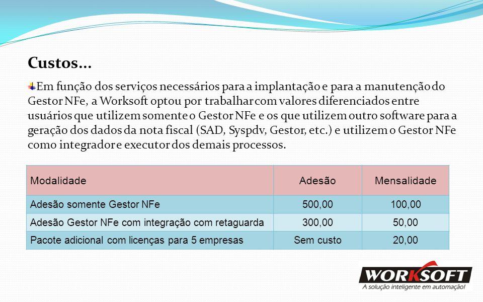 Custos... Em função dos serviços necessários para a implantação e para a manutenção do Gestor NFe, a Worksoft optou por trabalhar com valores diferenc