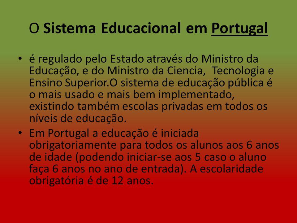O Sistema Educacional em Portugal é regulado pelo Estado através do Ministro da Educação, e do Ministro da Ciencia, Tecnologia e Ensino Superior.O sis