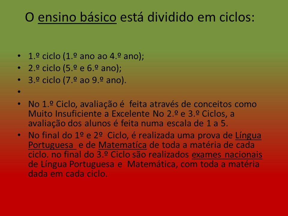 O ensino básico está dividido em ciclos: 1.º ciclo (1.º ano ao 4.º ano); 2.º ciclo (5.º e 6.º ano); 3.º ciclo (7.º ao 9.º ano). No 1.º Ciclo, avaliaçã