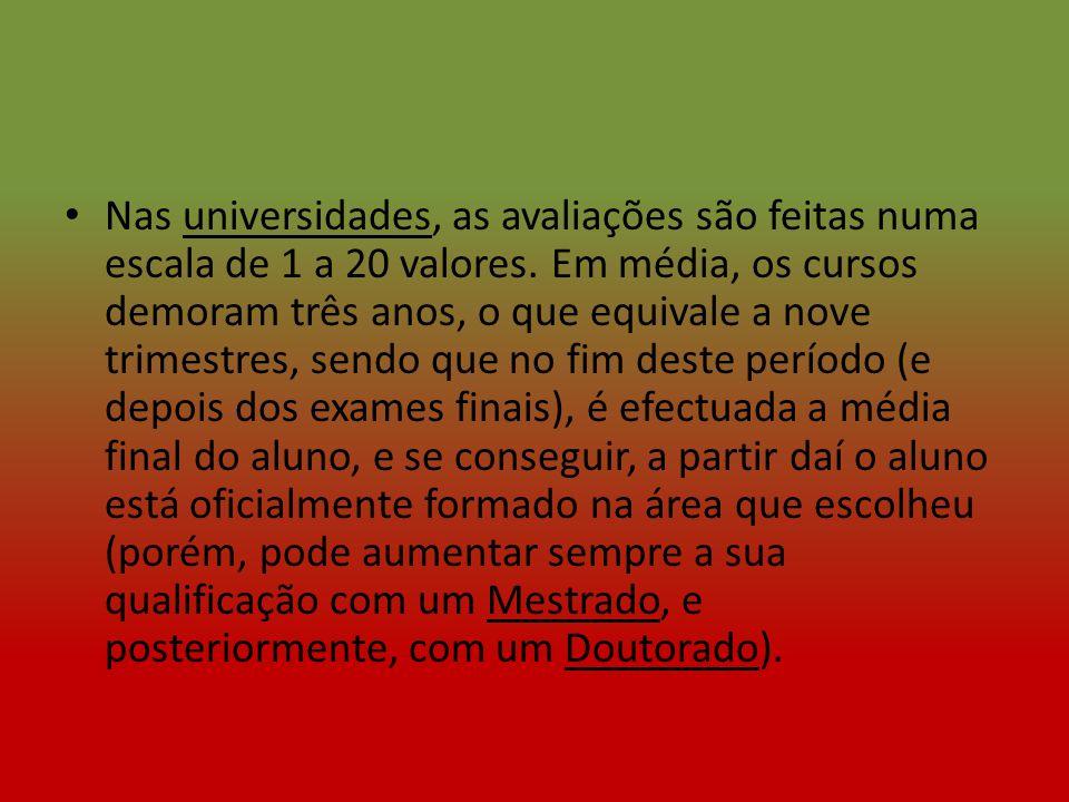 No Secundário, os alunos têm exames nacionais de Português (12ºano) e das disciplinas específicas do seu curso.