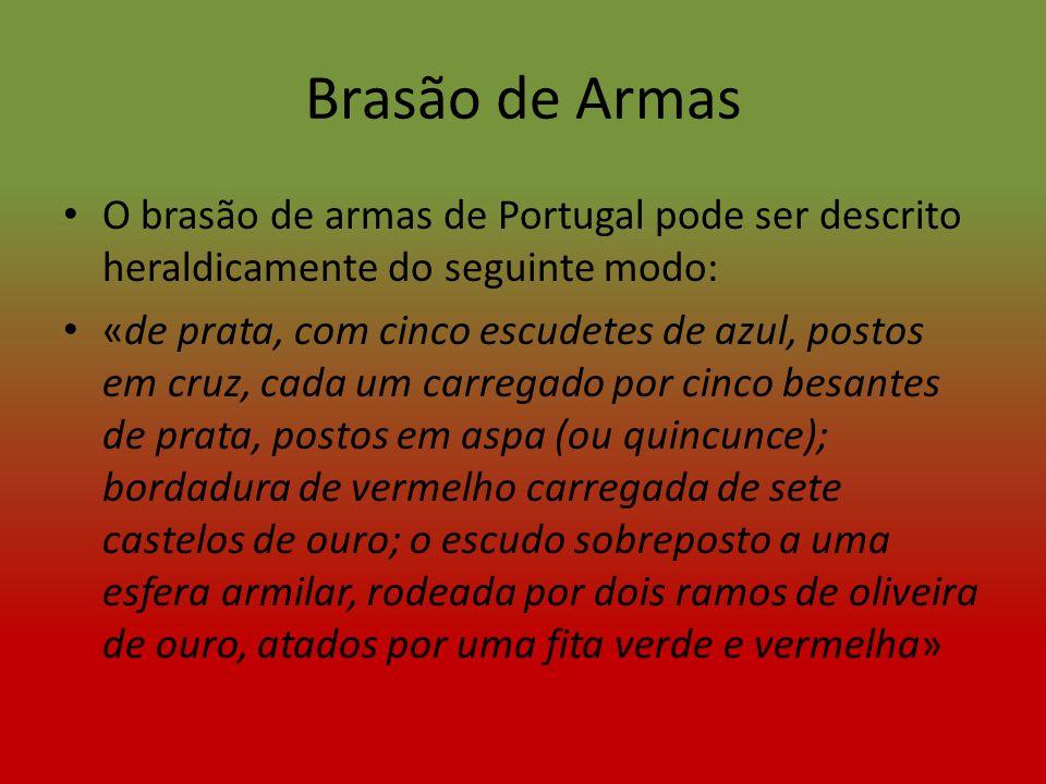 Brasão de Armas O brasão de armas de Portugal pode ser descrito heraldicamente do seguinte modo: «de prata, com cinco escudetes de azul, postos em cru