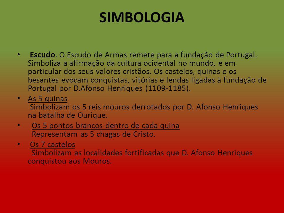 SIMBOLOGIA Escudo. O Escudo de Armas remete para a fundação de Portugal. Simboliza a afirmação da cultura ocidental no mundo, e em particular dos seus
