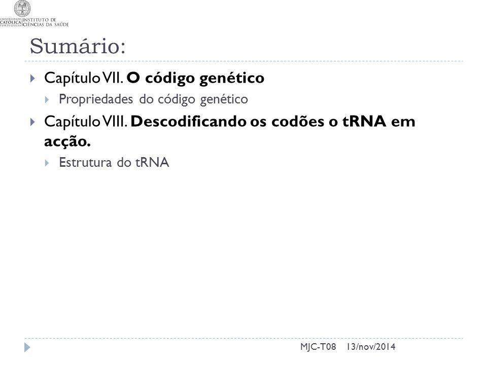 13/nov/2014MJC-T08 Sumário:  Capítulo VII.