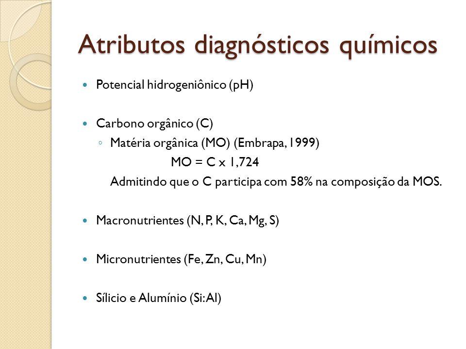 Atributos diagnósticos químicos Potencial hidrogeniônico (pH) Carbono orgânico (C) ◦ Matéria orgânica (MO) (Embrapa, 1999) MO = C x 1,724 Admitindo qu