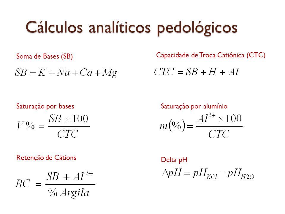 Cálculos analíticos pedológicos Soma de Bases (SB) Capacidade de Troca Catiônica (CTC) Saturação por bases Saturação por alumínio Delta pH Retenção de