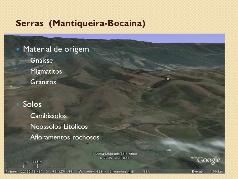 Serras (Mantiqueira-Bocaína) Material de origem ◦ Gnaisse ◦ Migmatitos ◦ Granitos Solos ◦ Cambissolos ◦ Neossolos Litólicos ◦ Afloramentos rochosos