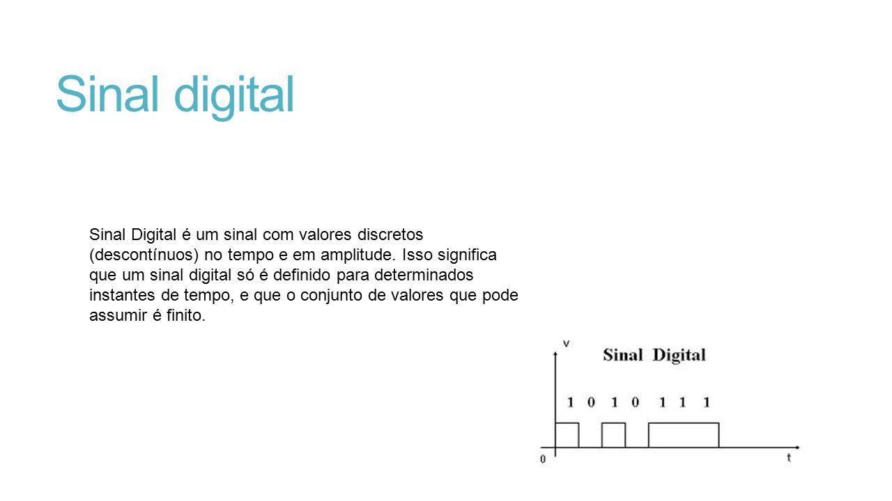 Sinal digital Sinal Digital é um sinal com valores discretos (descontínuos) no tempo e em amplitude. Isso significa que um sinal digital só é definido