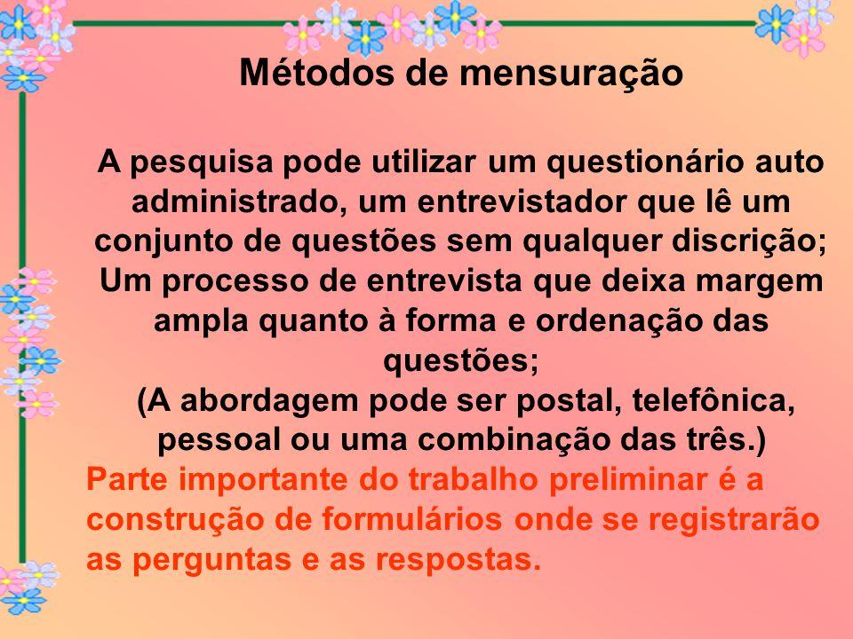Métodos de mensuração A pesquisa pode utilizar um questionário auto administrado, um entrevistador que lê um conjunto de questões sem qualquer discriç