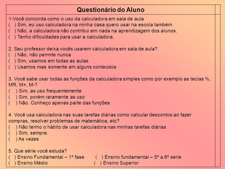 Questionário do Aluno 1-Você concorda como o uso da calculadora em sala de aula ( ) Sim, eu uso calculadora na minha casa quero usar na escola também