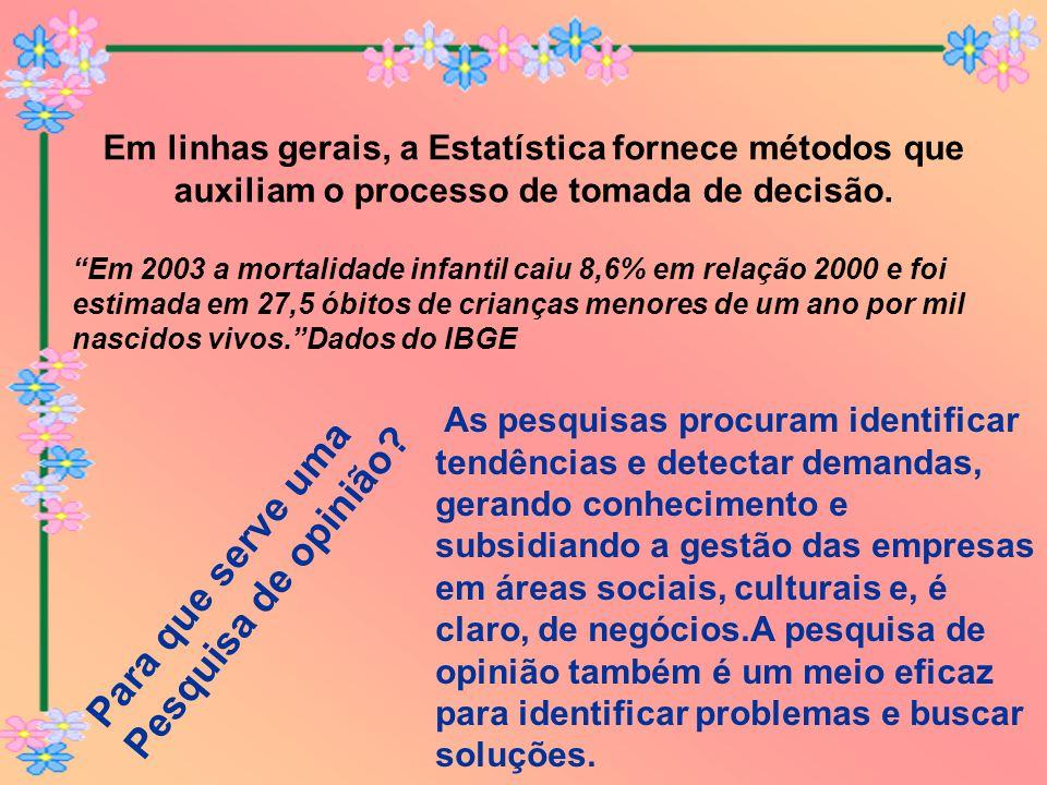 """Em linhas gerais, a Estatística fornece métodos que auxiliam o processo de tomada de decisão. """"Em 2003 a mortalidade infantil caiu 8,6% em relação 200"""