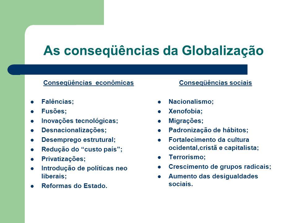 As conseqüências da Globalização Conseqüências econômicas Falências; Fusões; Inovações tecnológicas; Desnacionalizações; Desemprego estrutural; Reduçã