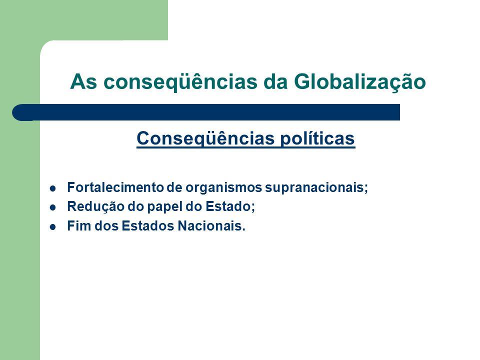 As conseqüências da Globalização Conseqüências políticas Fortalecimento de organismos supranacionais; Redução do papel do Estado; Fim dos Estados Naci