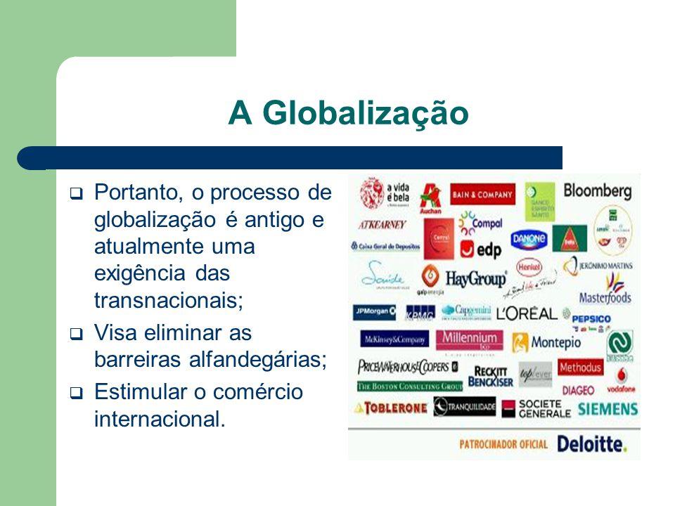 A Globalização  Portanto, o processo de globalização é antigo e atualmente uma exigência das transnacionais;  Visa eliminar as barreiras alfandegári