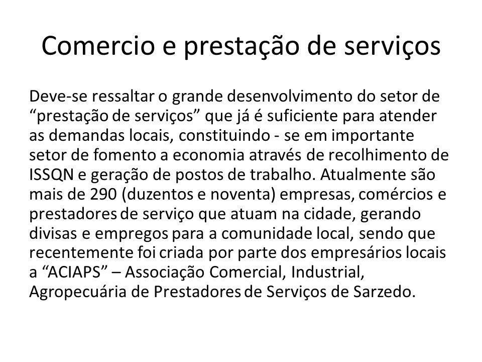 Comercio e prestação de serviços Deve-se ressaltar o grande desenvolvimento do setor de prestação de serviços que já é suficiente para atender as demandas locais, constituindo - se em importante setor de fomento a economia através de recolhimento de ISSQN e geração de postos de trabalho.