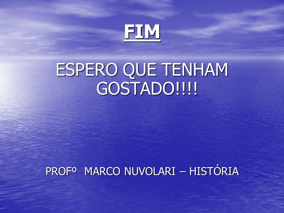 FIM ESPERO QUE TENHAM GOSTADO!!!! PROFº MARCO NUVOLARI – HISTÓRIA