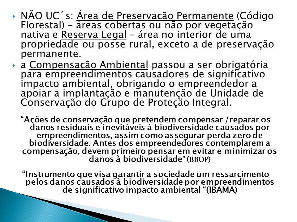  NÃO UC´s: Área de Preservação Permanente (Código Florestal) – áreas cobertas ou não por vegetação nativa e Reserva Legal – área no interior de uma propriedade ou posse rural, exceto a de preservação permanente.