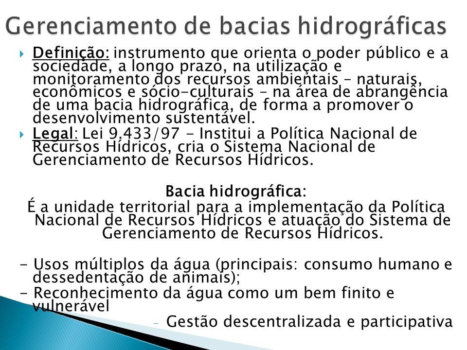  Definição: instrumento que orienta o poder público e a sociedade, a longo prazo, na utilização e monitoramento dos recursos ambientais – naturais, econômicos e sócio-culturais – na área de abrangência de uma bacia hidrográfica, de forma a promover o desenvolvimento sustentável.