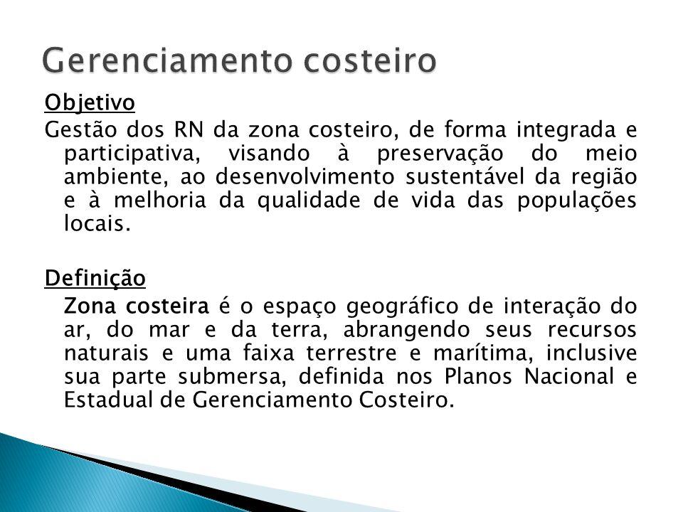 Objetivo Gestão dos RN da zona costeiro, de forma integrada e participativa, visando à preservação do meio ambiente, ao desenvolvimento sustentável da região e à melhoria da qualidade de vida das populações locais.