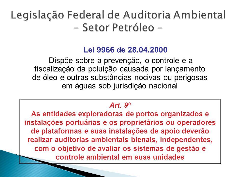 Lei 9966 de 28.04.2000 Dispõe sobre a prevenção, o controle e a fiscalização da poluição causada por lançamento de óleo e outras substâncias nocivas ou perigosas em águas sob jurisdição nacional Art.